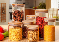 Large Glass Storage Jars With Wood Lid / High Borosilicate Glass Jars